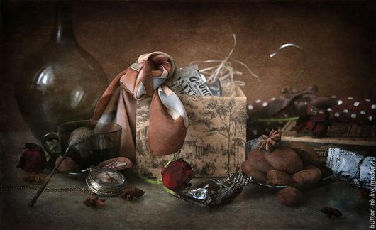 Фотокартины ручной работы. Ярмарка Мастеров - ручная работа. Купить Натюрморт Марципаны в шоколаде. Handmade. Коричневый, Париж, часы, коробка
