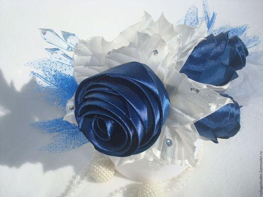 """Диадемы, обручи ручной работы. Ярмарка Мастеров - ручная работа. Купить Ободок """"Синие розы"""". Handmade. Синий, стразы"""