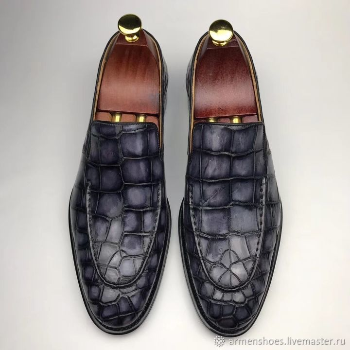Men's loafers, made of genuine crocodile leather, in dark gray color!, Loafers, Tosno,  Фото №1