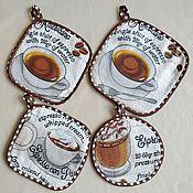 handmade. Livemaster - original item Potholders: A set of potholders for Espresso and Americano Coffee. Handmade.