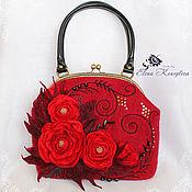 Сумки и аксессуары handmade. Livemaster - original item Bag Red Rose felted wool. Handmade.