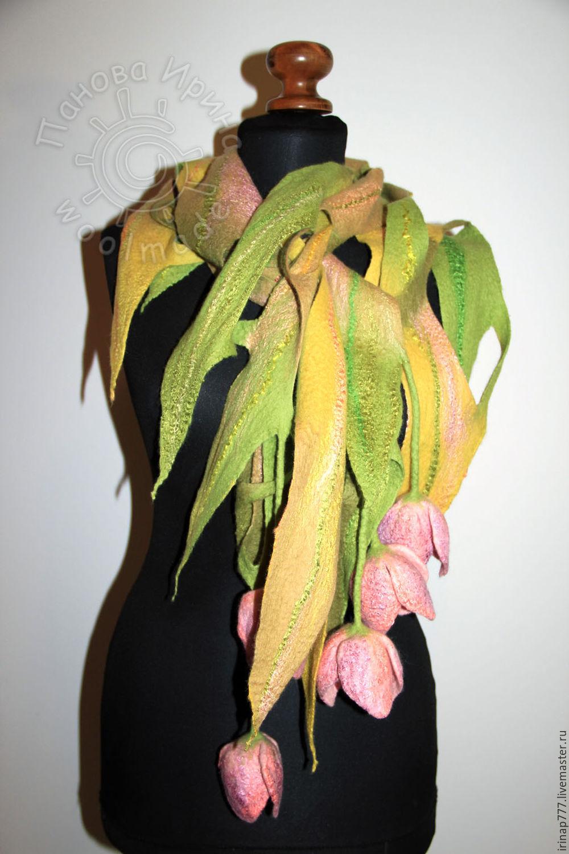 Вязаный шарф цветочная фантазия