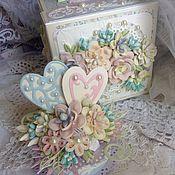 """Свадебный салон ручной работы. Ярмарка Мастеров - ручная работа Свадебная открытка -коробочка с сюрпризом """" Зефирная нежность"""". Handmade."""
