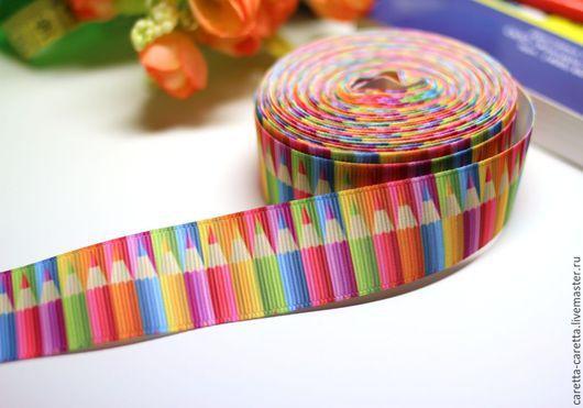 Шитье ручной работы. Ярмарка Мастеров - ручная работа. Купить Лента репсовая 22 мм «Карандаши» , репсовая лента с рисунком.. Handmade.