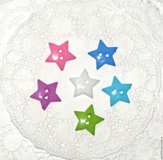 Шитье ручной работы. Ярмарка Мастеров - ручная работа. Купить Пуговица пластиковая,звёздочка 19 мм. Handmade. Бирюзовый, белый