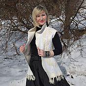 Одежда ручной работы. Ярмарка Мастеров - ручная работа Жилет валяный шерстяной женский белый валяный жилет. Handmade.