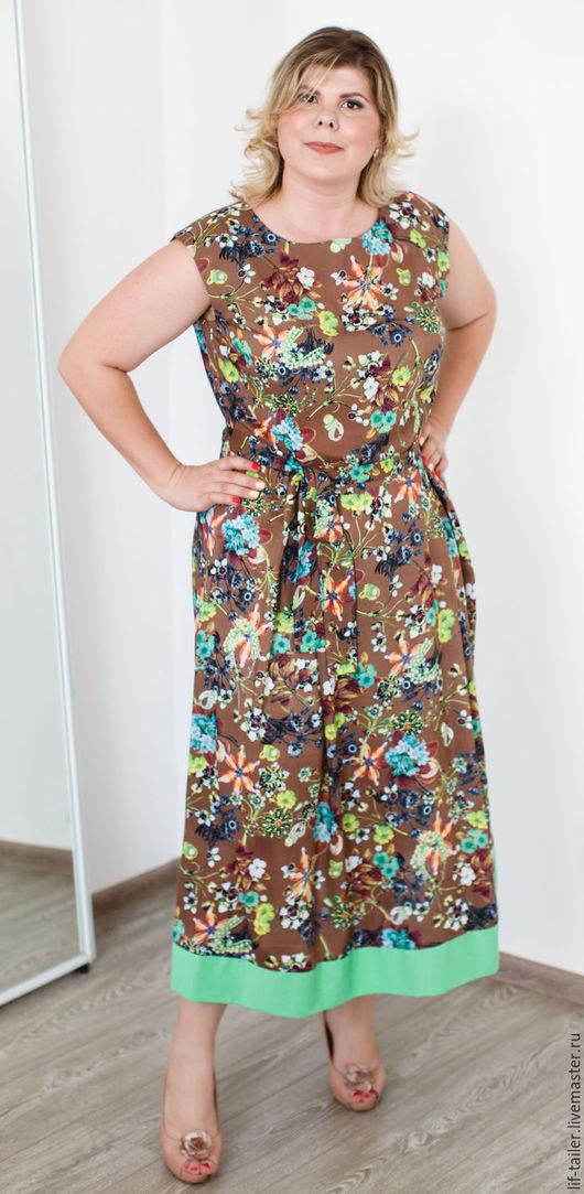 Коричневое платье `Ретро` из штапеля стрейч Длина платья 120 см. Длина от талии до подола 76 см.