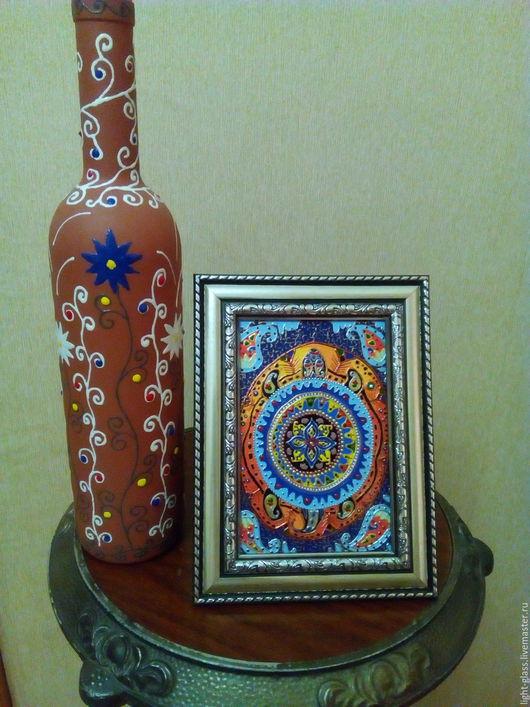 Персональные подарки ручной работы. Ярмарка Мастеров - ручная работа. Купить Картина настольная витражная Символ вселенной. Handmade.