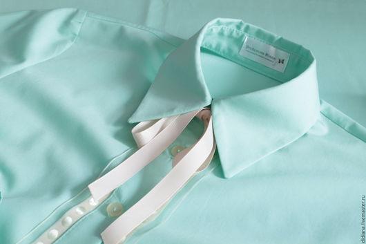 Блузки ручной работы. Ярмарка Мастеров - ручная работа. Купить Рубашка из хлопка Mint. Handmade. Мятный, рубашечная ткань