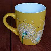 Посуда ручной работы. Ярмарка Мастеров - ручная работа Кружка с одуванчиками, чашка с одуванчивами, желтая кружка. Handmade.
