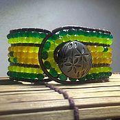 Украшения handmade. Livemaster - original item Stone beaded bracelet. 7 row leather cuff bracelet. Green bracelet. Handmade.