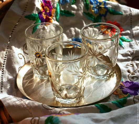 Винтажная посуда. Ярмарка Мастеров - ручная работа. Купить Три (или пять) больших стопки с ручной огранкой. Handmade. Белый