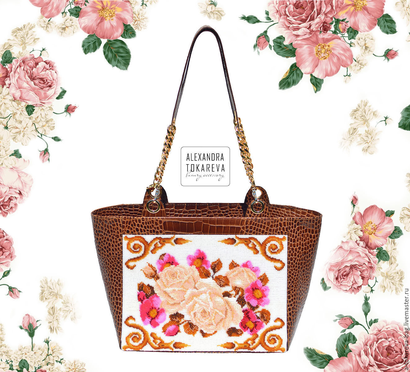 An exclusive designer bag beaded embroidered ' Тender roses ', Classic Bag, Moscow,  Фото №1
