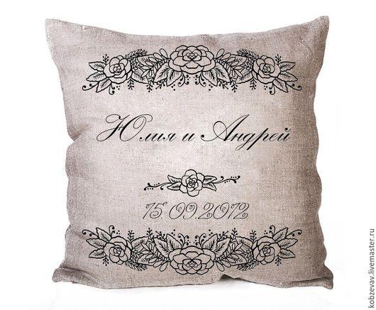 Текстиль, ковры ручной работы. Ярмарка Мастеров - ручная работа. Купить Подушка с принтом. Handmade. Серый, принт на ткани