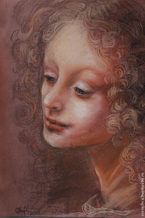 рисунок пастелью с рисунка Леонардо да Винчи.Оформлен в паспарту и под стекло в рамочке золотистого цвета.http://pics.posternazakaz.ru/pnz/canvas/newsmall/ce/ba/fb5eo08f7ia7aojd.jpg