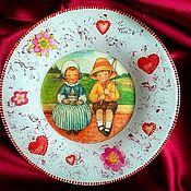 """Для дома и интерьера ручной работы. Ярмарка Мастеров - ручная работа Тарелочка - """"валентинка"""". Handmade."""