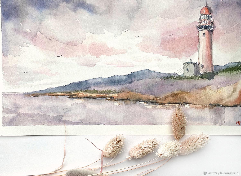 """""""Ждать заката"""" картина акварелью (маяк, пейзаж), Картины, Корсаков,  Фото №1"""