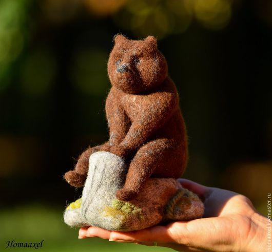 Игрушки животные, ручной работы. Ярмарка Мастеров - ручная работа. Купить Игрушка Медведь на камне. Handmade. Коричневый, камень