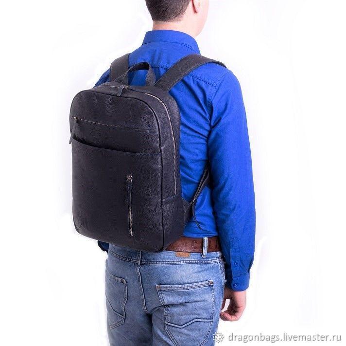 Backpack leather male 'Marko' (Dark Blue), Backpacks, Yaroslavl,  Фото №1