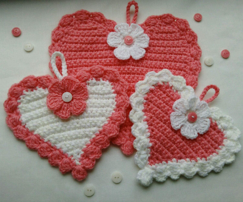 прихватки вязанные крючком сердечки вязание спицами самое