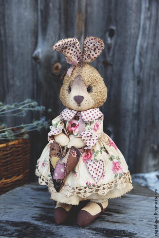 Игрушки животные, ручной работы. Ярмарка Мастеров - ручная работа. Купить Зайка с сердцем.. Handmade. Розовый, сувениры и подарки, хлопок