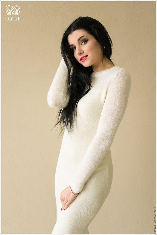 """Платья ручной работы. Ярмарка Мастеров - ручная работа. Купить Платье """"Молочный туман  """". Handmade. Белый, вязаное платье"""