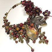 Украшения handmade. Livemaster - original item Amber Bordeaux. Necklace, earrings, removable floral decor. kit. Handmade.