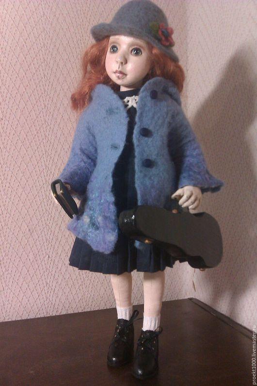 """Коллекционные куклы ручной работы. Ярмарка Мастеров - ручная работа. Купить """"Отличница"""". Handmade. Голубой, папье-маше"""