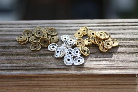 Для украшений ручной работы. Ярмарка Мастеров - ручная работа. Купить Спейсеры волнистые, бронза, серебро, золото, медь  6 мм. Handmade.