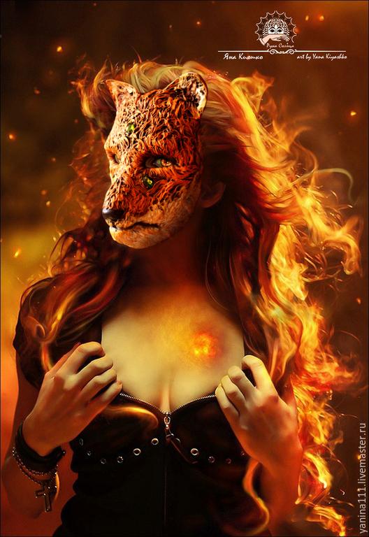 """Интерьерные  маски ручной работы. Ярмарка Мастеров - ручная работа. Купить """"Кицунэ. Волшебная лиса."""" Тематическая маска.. Handmade."""