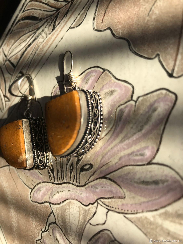 Jasper earrings, 925 silver, Europe, Vintage earrings, Arnhem,  Фото №1
