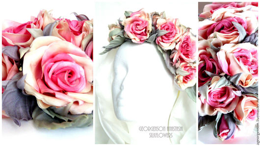 """Цветы ручной работы. Ярмарка Мастеров - ручная работа. Купить Веночек из шелковых роз """"Алиса"""". Handmade. Коралловый, веночек с цветами"""
