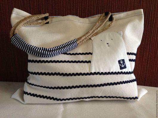 Женские сумки ручной работы. Ярмарка Мастеров - ручная работа. Купить Белый мишка в море. Handmade. Белый, мишка