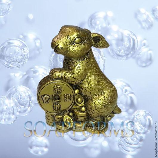 Силиконовая форма для мыла и свечей `Кролик с золотыми слитками и монетами` 3D