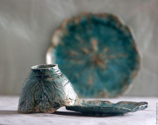 """Сервизы, чайные пары ручной работы. Ярмарка Мастеров - ручная работа. Купить Керамический набор """" Альпийская хвоя"""". Handmade."""
