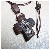 Русский стиль handmade. Livemaster - original item Pectoral cross in mahogany and silver. Handmade.