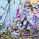 Большая голубая картина с кремовыми лавандовыми цветами на заказ маслом на холсте с подрамником. Картина в кабинет директора. Как заказать картину? Художник Марина Маткина Пермь