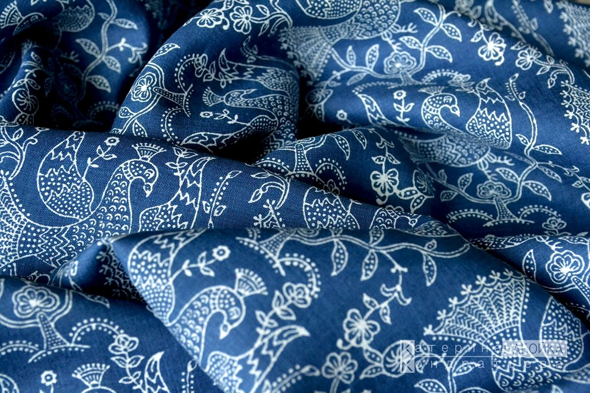 Синий лен с традиционными орнаментом. Индиго, Ткани, Санкт-Петербург,  Фото №1