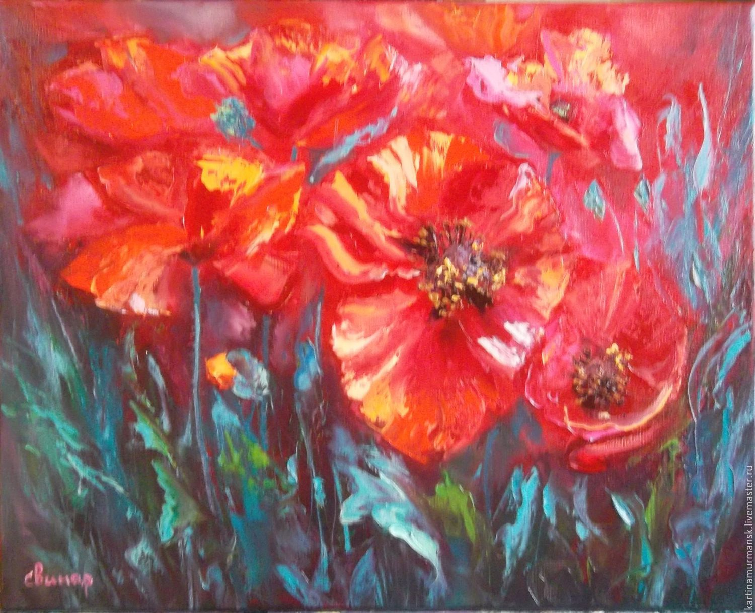 Oil painting with poppies 40/50 'Invite for a walk', Pictures, Murmansk,  Фото №1