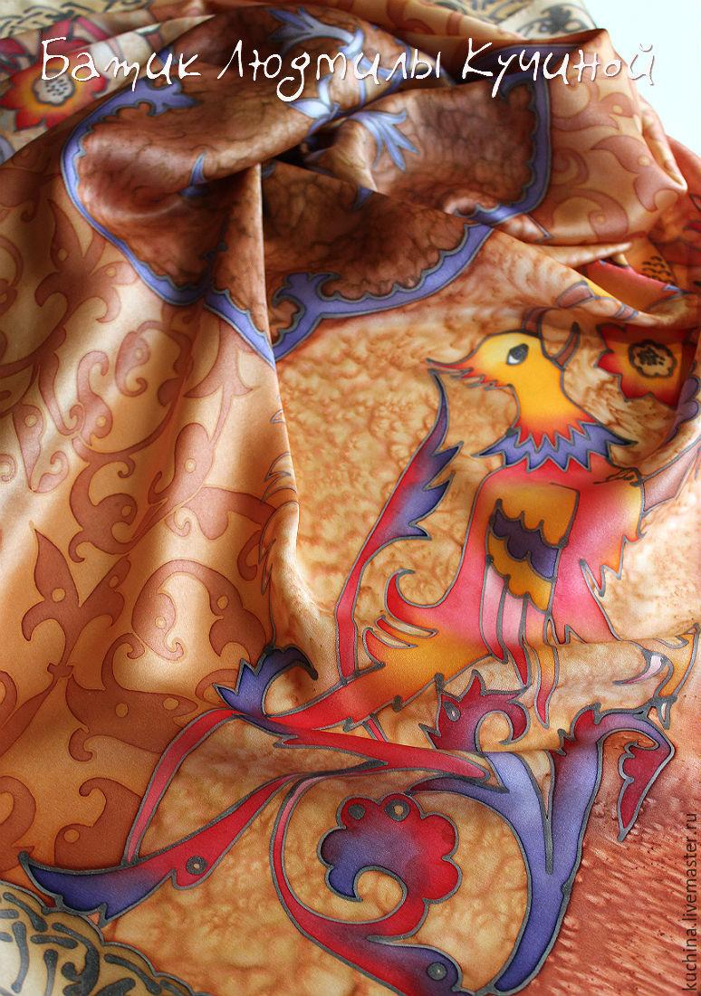 batik scarf 'Birds in the ornament', silk satin, Shawls1, St. Petersburg,  Фото №1
