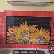 """Картины и панно ручной работы. Ярмарка Мастеров - ручная работа Панно """"Подсолнухи на солнце"""" мозаика. Handmade."""