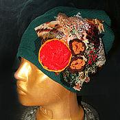 Текстильная бохо-шапочка зелёная №1