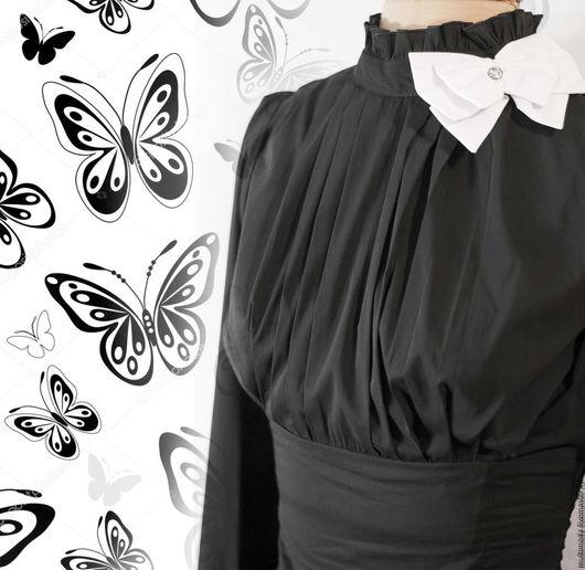 Блузки ручной работы. Ярмарка Мастеров - ручная работа. Купить Чёрная блузка с белым бантом. Handmade. Черный, офисная блузка