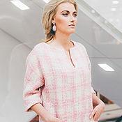 Одежда ручной работы. Ярмарка Мастеров - ручная работа Шерстяное платье с карманами, розовая клетка. Handmade.