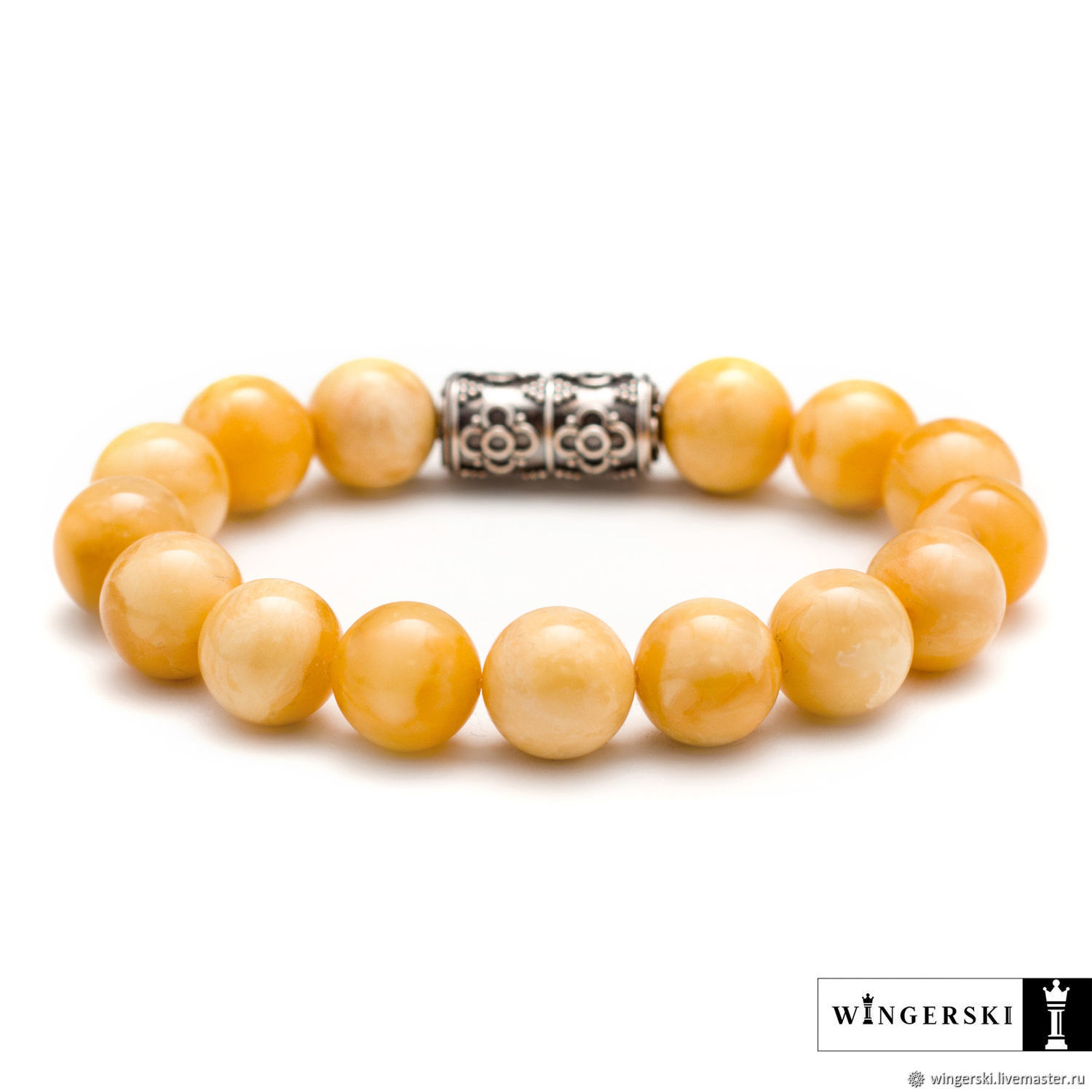 Arabesque bracelet in Baltic amber with silver charm, Bead bracelet, Moscow,  Фото №1