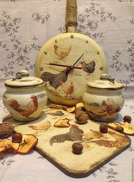 """Кухня ручной работы. Ярмарка Мастеров - ручная работа. Купить Комплект для кухни """"Птичий двор"""". Handmade. Кремовый, разделочная доска"""