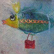 Картины и панно ручной работы. Ярмарка Мастеров - ручная работа Авторская картина маслом с модной рыбкой подарок рожденному в марте. Handmade.