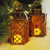 Подарки к праздникам handmade. Livemaster - original item Decorative lantern with a candle. Handmade.