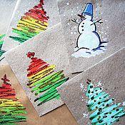 Открытки ручной работы. Ярмарка Мастеров - ручная работа Новогодние конверты из крафт бумаги. Handmade.