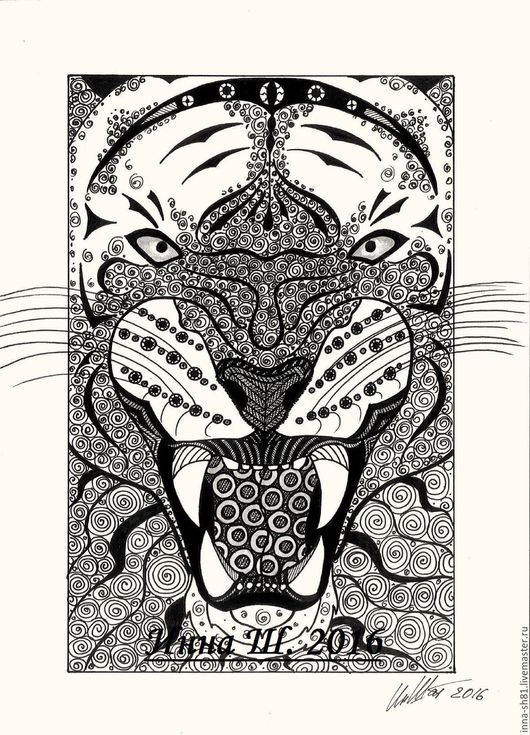 Животные ручной работы. Ярмарка Мастеров - ручная работа. Купить Тигр. Handmade. Чёрно-белый, графика, орнамент, рисунок тушью